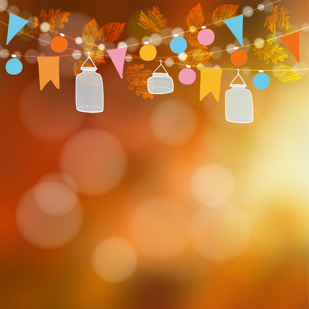 autumn garden: Autumn fall blurred card, banner. Garden party decoration. Vector illustration background with garland of oak, maple leaves, lights, glass jar lanterns, party flags. Illustration