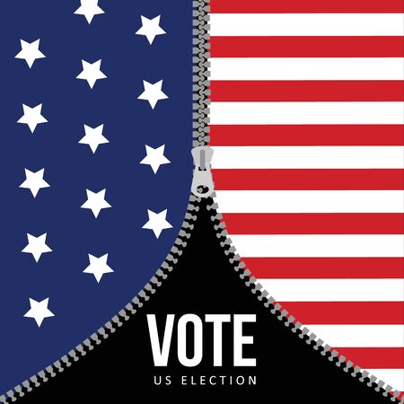 US presidential election concept. USA flag background with zipper. American vector illustration, flat design