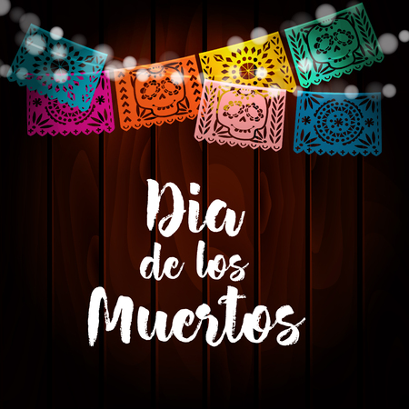 Dia de Los Muertos, Mexican Day of the Dead card, invitation. Party decoration, string of lights, handmade cut paper flags, skull, floral decor. Old wooden background. Vector illustration. Illustration