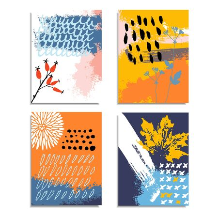 Artistic abstract hand drawn cards, invitations. Autumn fall color palette. Brush texture, floral elements. Birthday, party, wedding, brochure covers. Vector illustrations.