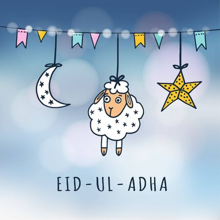 Eid-ul-adha mubarak greeting card with sheep, moon, star and flags. Festive blurred background. Muslim community festival of sacrifice. Vector illustration. Illustration