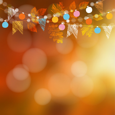 festival: Autumn fall card, banner. Garden party decoration. Garland of oak, maple leaves, lights, party flags.Vector blurred illustration background.