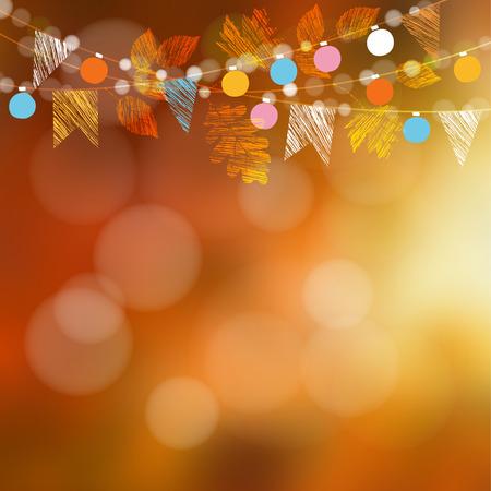 Tarjeta de otoño otoño, banner. Decoración de fiesta en el jardín. Guirnalda de roble, hojas de arce, luces, banderas del partido. Vector borrosa ilustración de fondo.