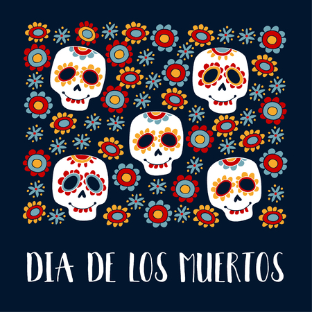 Dia de Los Muertos-groetkaart, uitnodiging. Mexicaanse dag van de doden. Siersuikerschedels, bloemen. Hand getrokken vectorillustratie, achtergrond. Stock Illustratie