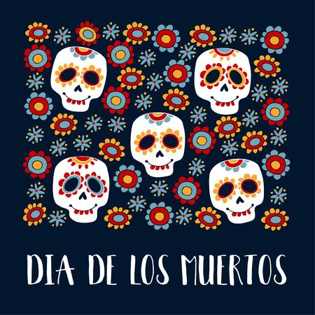 Karta z pozdrowieniami Dia de Los Muertos, zaproszenie. Meksykański dzień zmarłych. Ozdobne czaszki cukrowe, kwiaty. Ręcznie rysowane ilustracji wektorowych, tło.