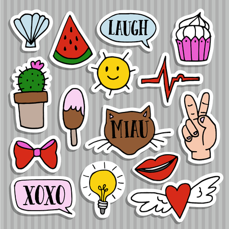 Set of fashion patches, badges, pins and stickers. Cool trendy hand drawn design. Isolatedvector objects  イラスト・ベクター素材