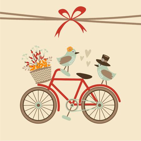 Leuke retro bruiloft, verjaardag, baby shower kaart, uitnodiging. Fiets en vogels. Herfst, vallen vector illustratie achtergrond
