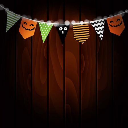 Halloween greeting card, invitation. Party flags decoration. Pumpkin design. Old wooden background. Vector illustration.