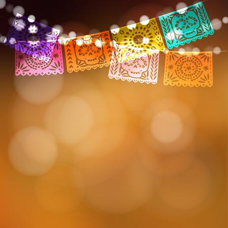 Dia DE Los Muertos, Dag van de Doden of kaart van Halloween, uitnodiging. Partij decoratie, koord van lichten, partij vlaggen met schedels. Vector illustratie achtergrond