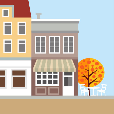Cute background with old town houses.  Autumn, fall scene. Flat design, vector illustration.