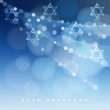 hannukah: Rosh Hashanah, Jewish New Year holiday or Hannukah greeting card with lights and Jewish stars. Modern blurred vector illustration background Illustration