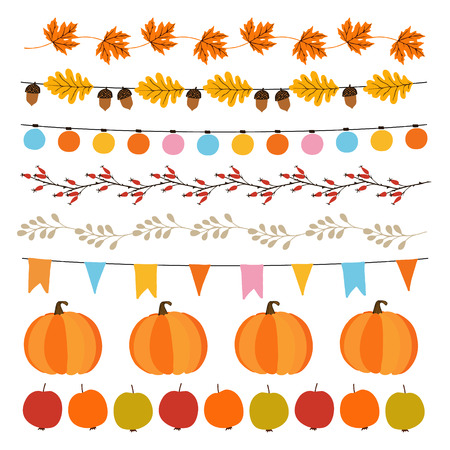 Set of cute autumn, fall garlands with lights, flags, acorns, leaves, pumpkins, apples and rose hips. Collection of garden party decorations. Isolated vector objects.