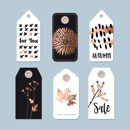 floral objects: Modern set of autumn, fall sale and quality labels, gift tags. Lettering, hand drawn leaves, floral elements. Isolated vector objects, illustrations.