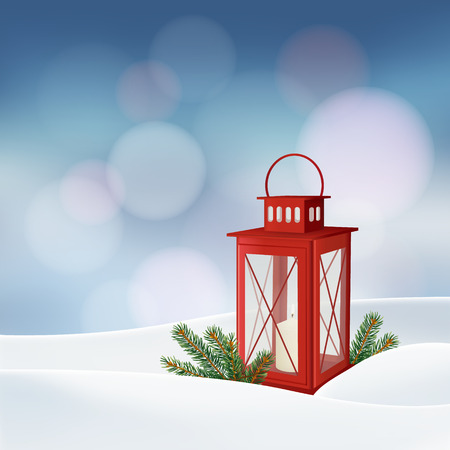 red lantern: Christmas greeting card, invitation. Winter scene with red lantern, burning candle, Christmas tree branches, twigs, and snow.  Holiday decoration. Vector illustration