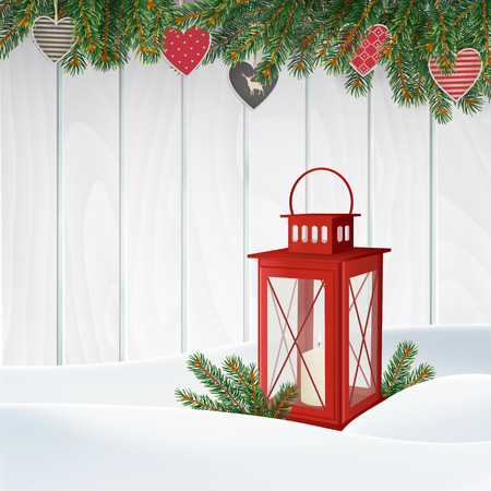 red lantern: Christmas greeting card, invitation. Winter scene, red lantern with candle, Christmas tree branches, twigs, holiday paper hearts decoration and snow. Old white wooden background. Vector illustration.