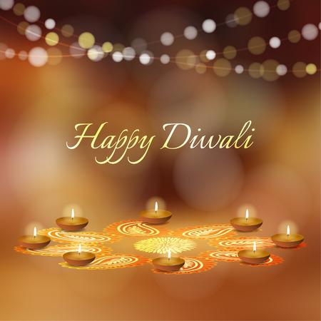 Happy Diwali greeting card, invitation. Indian Festival of lights. Diya oil lit lamps and rangoli floral ornament. Festive golden glitter vector illustration background. Celebration concept.