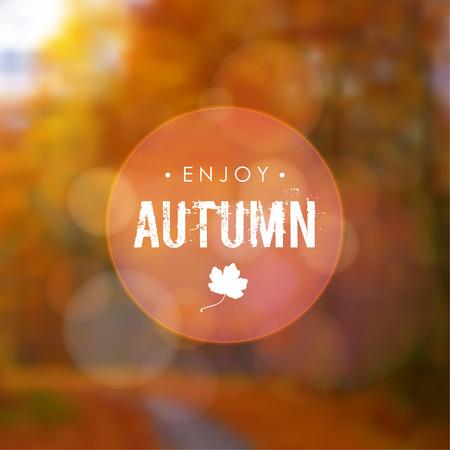 La caída del otoño fondo borroso con la hoja de arce y el bosque. El diseño moderno para las tarjetas, invitaciones, folletos, catálogos, portadas. Ilustración del vector.