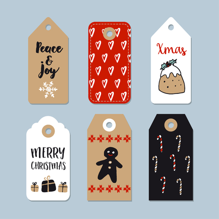 christmas pudding: Set of cute Christmas gift tags, labels. Hand drawn illustrations with gingerbread, Christmas pudding, candy canes and gift boxes. Isolated vector objects.