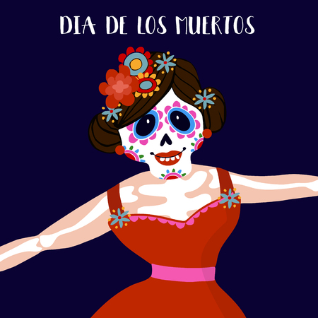 Dia de Los Muertos greeting card, invitation. Mexican Day of the Dead.  Woman with  flowers dressed as skeleton. Ornamental skull. Hand drawn vector illustration, background.