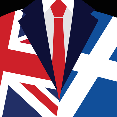 imminent: Brexit concept. British flag. Scottish flag. Scottish referendum. Symbol of imminent exit of Scotland out of the Great Britain.  Vector illustration background.