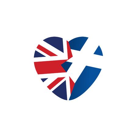 scottish flag: icona Brexit. Bandiera britannica. bandiera scozzese. Cuore spezzato, simbolo di imminente uscita della Scozia dal Regno Unito. Illustrazione vettoriale, oggetto isolato.