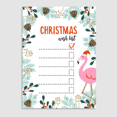 wish list: Cute Christmas card, wish list. Flamingo with Santa hat and floral frame made of Christmas tree branches and red berries. Hand drawn vector illustration background