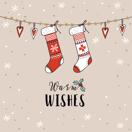 greeting card: Vintage Christmas, New Year greeting card, invitation. Traditional decoration, hanging knitted socks, stockings, hearts and falling snow. Hand drawn vector illustration. Illustration