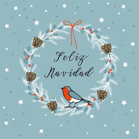 Vintage merry christmas spanish feliz navidad greeting card vector vintage merry christmas spanish feliz navidad greeting card invitation wreath made of evergreen branches berries pine cones and finch bird m4hsunfo