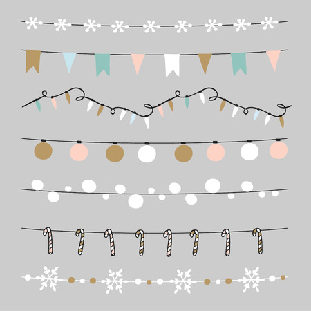 string: Set of Christmas borders, strings, garlands, brushes. Praty decoration with Christmas balls, baubles, lights, flags, candy sticks and snowflakes. Isolated vector objects.