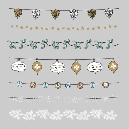 pine decoration: Set of Christmas borders, strings, garlands, brushes. Praty decoration with pine cones, mistletoe, Christmas balls, baubles and stars. Isolated vector objects.