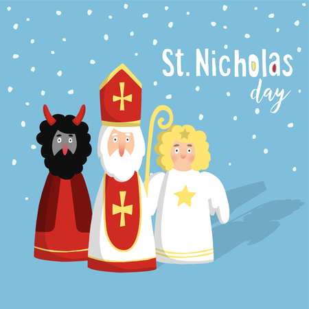 saint: Cute St. Nicholas with devil and angel, christmas invitation, card. Flat design, vector illustration, winter background.