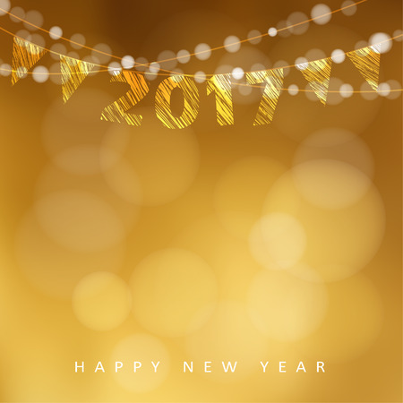 new year eve: Happy new year greeting card with 2017 and string of glittering lights and flags. Party decoration. Vector illustration background. Illustration