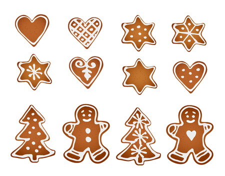decorative objects: Set of gingerbread cookies. Decorative gingerbread man, stars, hearts and christmas tree with icing on white background. Isolated vector objects Illustration