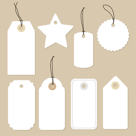 paper tags: Set of various blank white paper tags, labels, stickers. Isolated vector elements, flat design. Illustration