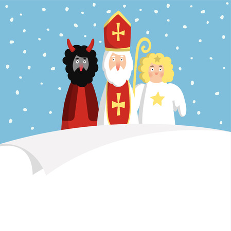 mitre: St. Nicholas with devil,angel and blank paper. Cute Christmas invitation, card, wish list. Flat design, vector illustration, winter background.