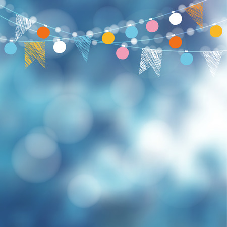Christmas card, invitation. Winter birthday garden party decoration. Vector illustration with garland of lights, party flags and blurred background. Vettoriali