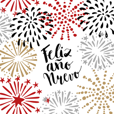 nuevo: Feliz ano nuevo, Spanish Happy New Year greeting card with handwritten text and hand drawn fireworks, stars. Vector illustration, brush lettering.