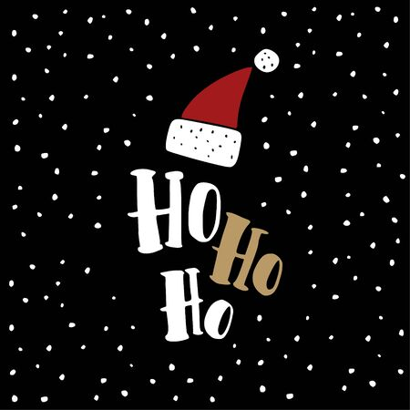 ho: Funny Christmas greeting card, invitation. Hand drawn Santa Claus red hat with Ho ho text. Black background with falling snow. Vector illustration. Illustration