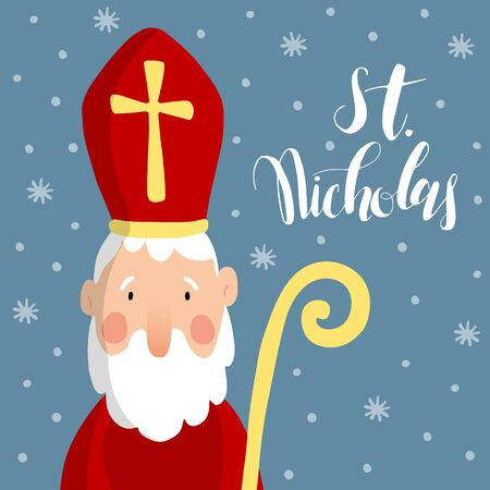 mitre: Cute greeting card with Saint Nicholas with mitre, pastoral staff and falling snow. European winter tradition. Hand-lettered text. Flat design, vector illustration. Illustration