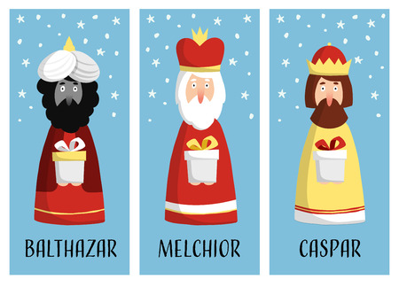 melchior: Cute set of Christmas greeting cards, gift tags with three magi. Biblical kings Caspar, Melchior and Balthazar. Flat design, vector illustration background.