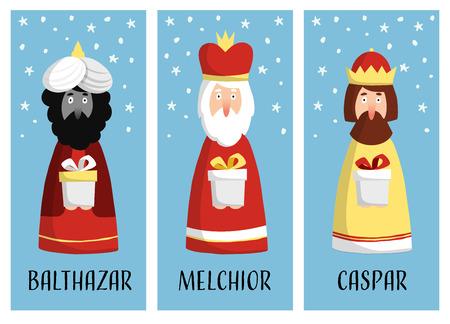caspar: Cute set of Christmas greeting cards, gift tags with three magi. Biblical kings Caspar, Melchior and Balthazar. Flat design, vector illustration background.