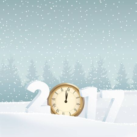 silvester: Happy new year 2017 greeting card, invitation. White winter landscape with forest, numbers, old watch and falling snow. Vector illustration background..