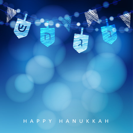 dreidel: Hanukkah blue background with string of light and dreidels. Festive party decoration. Modern blurred vector illustration  for Jewish Festival of light. Illustration