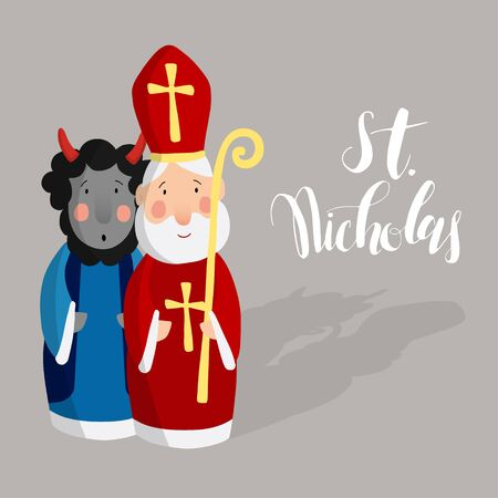 zwarte: Cute Saint Nicholas with devil and lettering text. Christmas invitation card, vector illustration, winter background
