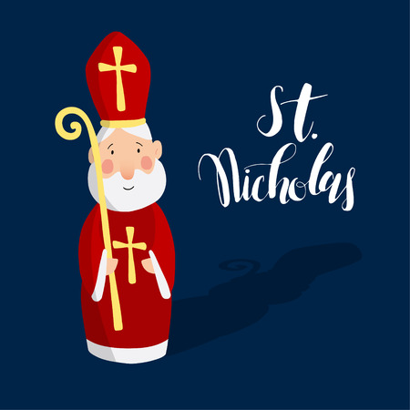 Cute greeting card with Saint Nicholas with mitre and pastoral staff. European winter tradition. Hand-lettered text. Flat design, vector illustration.