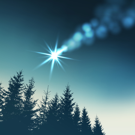 christmas star background: Christmas greeting card, invitation. Shooting star, comet and the dark silhouette of a forest. Vector illustration background. Illustration