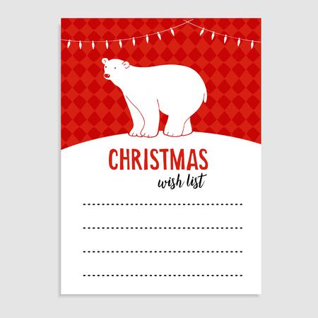 wish list: Cute Christmas greeting card, wish list. Polar bear with Christmas lights and snow. Hand drawn vector illustration background. Illustration