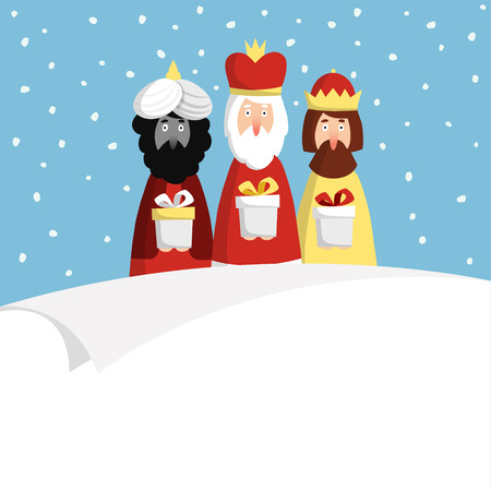 melchior: Cute Christmas greeting card, invitation with three magi bringing gifts and blank paper. Biblical kings Caspar, Melchior and Balthazar. Flat design, vector illustration background.