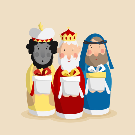 melchior: Cute Christmas greeting card, invitation with three magi bringing gifts. Biblical kings Caspar, Melchior and Balthazar. Flat design, vector illustration background. Illustration