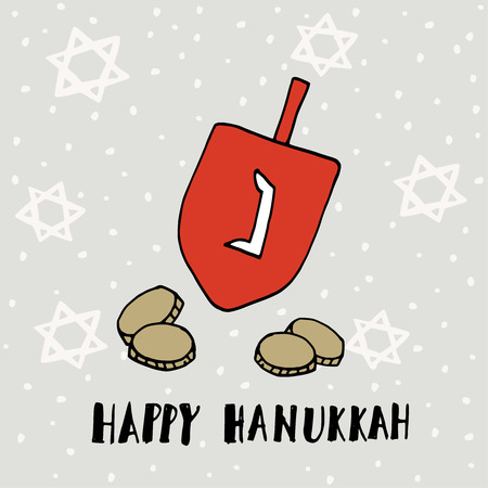hannukah: Hanukkah greeting card, invitation with hand drawn dreidle, coins and jewish stars. Vector illustration for Jewish Festival of light. Illustration